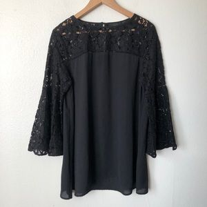 Halogen Black Bell Sleeve Lace Blouse